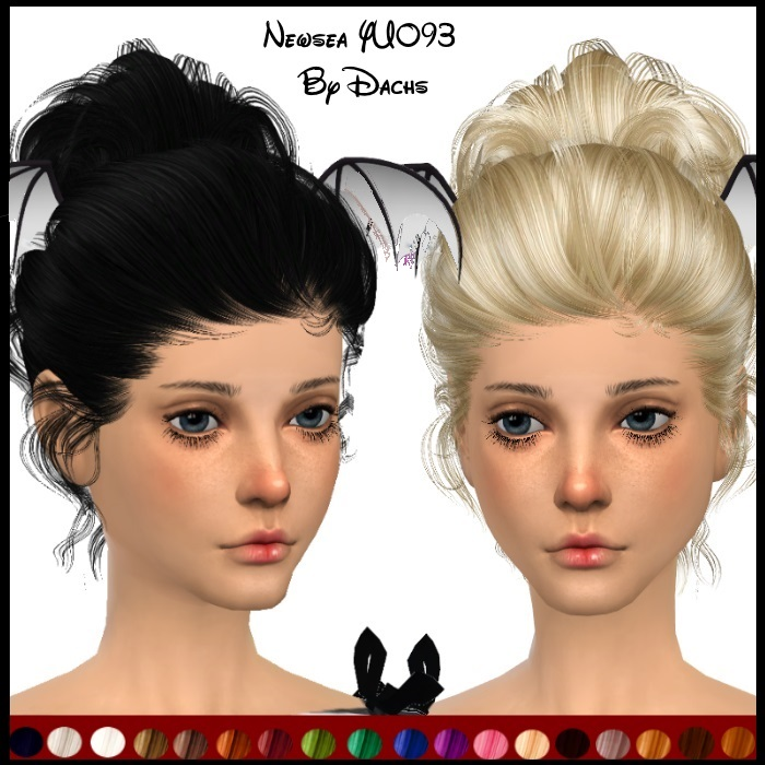 Newsea Hair Edit with No Bow and 20 Recolors by Dachs