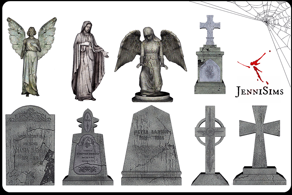 Cemetery Gravestones and Statues by JenniSims