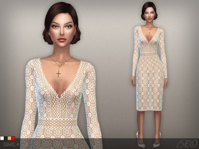 LACE TRANSPARENT MIDI DRESS 02 by BEO