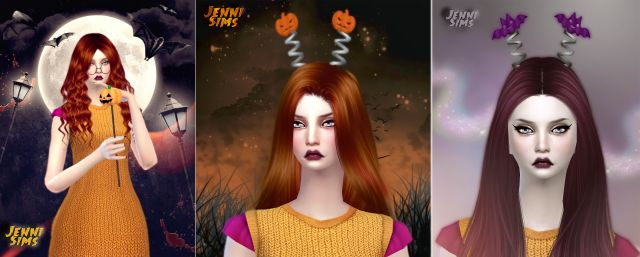 Set Accessory Halloween (Pumpkin Wand, Antenna Bats, Pumpkin) Male / Female by JenniSims