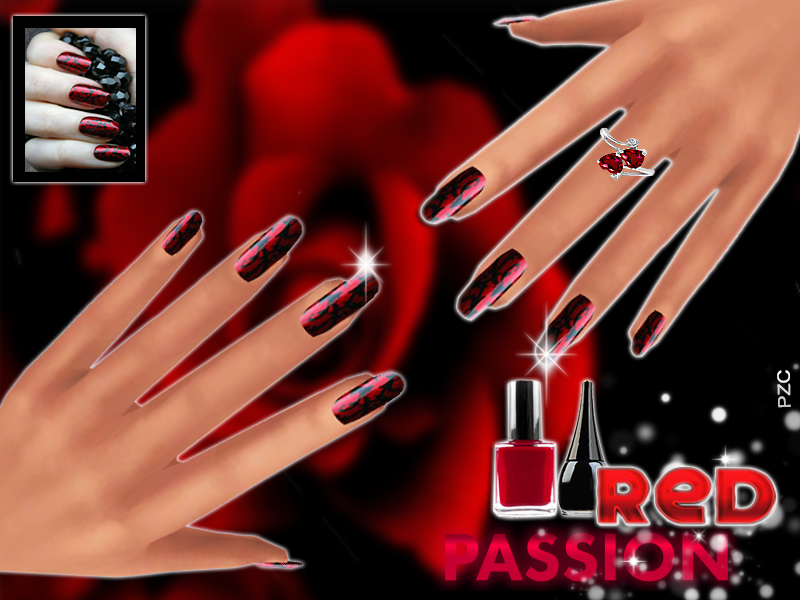 PZC_Red Passion Nails BY Pinkzombiecupcakes