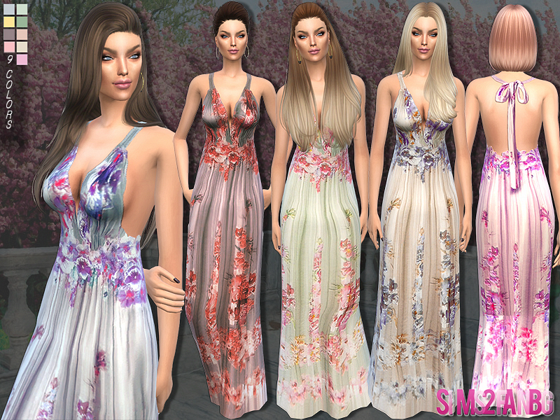 85 - Long floral dress  BY sims2fanbg