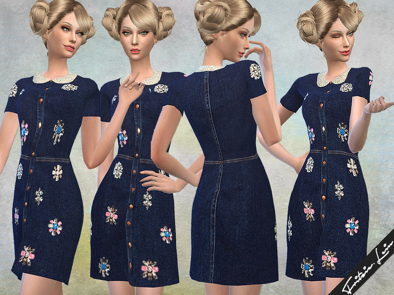 Embroidered Denim Dress BY Fritzie.Lein