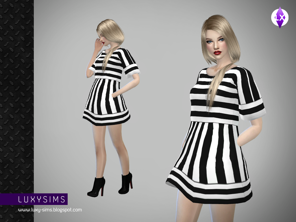Short Striped Dress by LuxySims