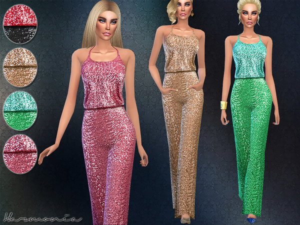 Wide-leg Pants Sequined Jumpsuit by Harmonia