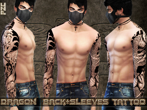 Dragon Back and Sleeves Tattoo by Pinkzombiecupcakes
