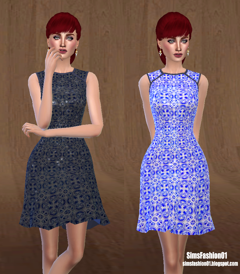 Geometric Print Dress by SimsFashion01