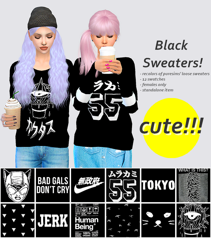 Black Sweaters for Females by Sulsulsims
