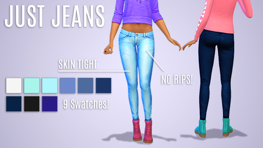 Just Jeans in 9 Colors for Teen - Elder Females by KeanPea