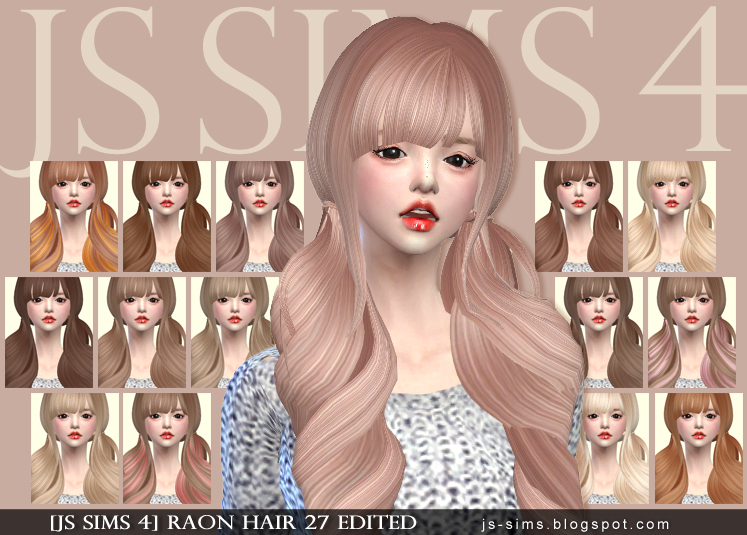 Raonjena Hair 27 Edit and Retexture for Females by JS Sims 4