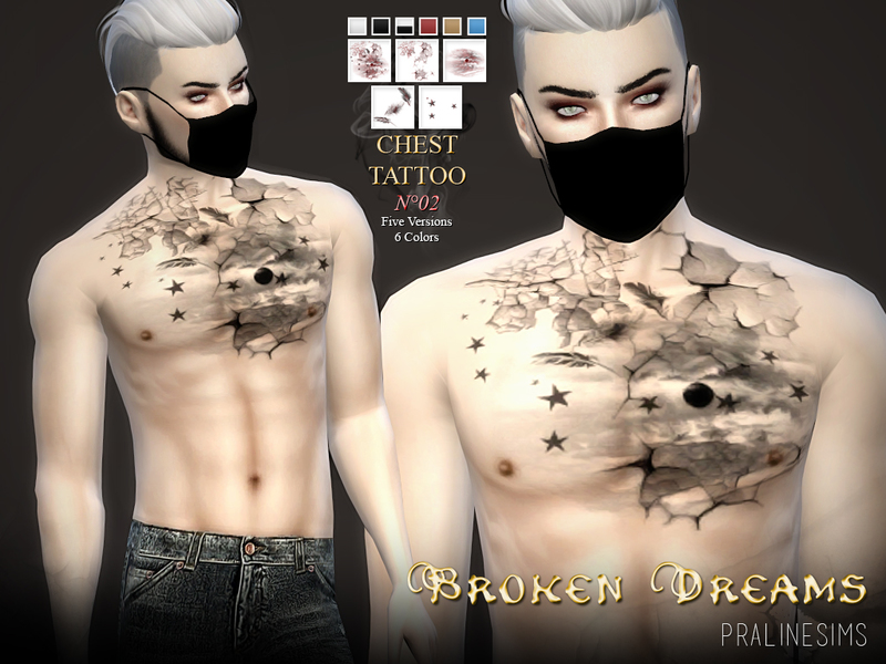 Chest Tattoo N02 ~ Broken Dreams BY Pralinesims