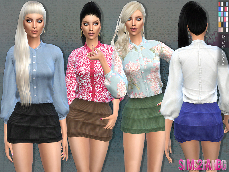 89 - Mini skirt and shirt BY sims2fanbg