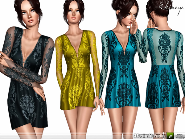 Deep V-Neck Lace Dress by ekinege