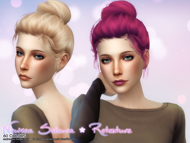 Newsea Sakura Hair Retexture in 60 Colors by AveiraSims