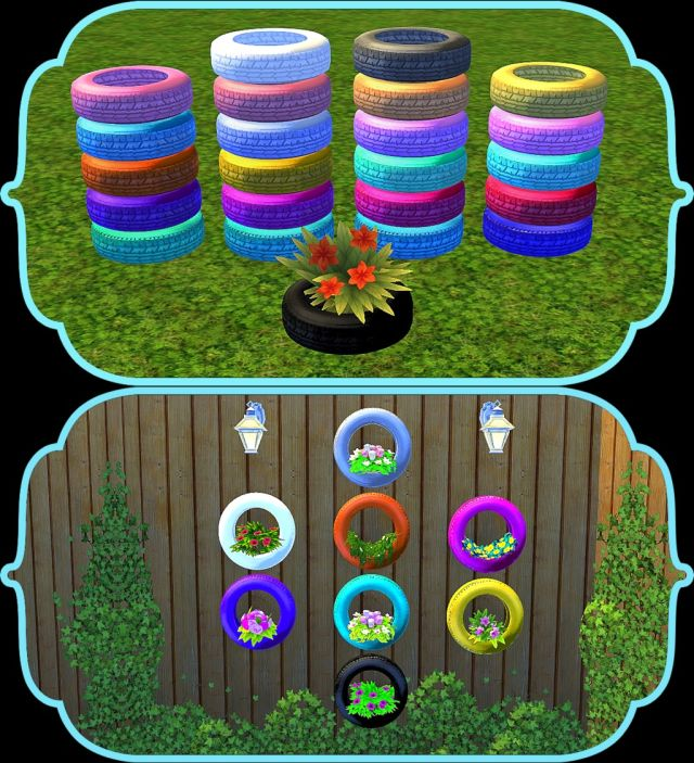 Wall & Floor Tire Planters in 23 Colors by Daer0n