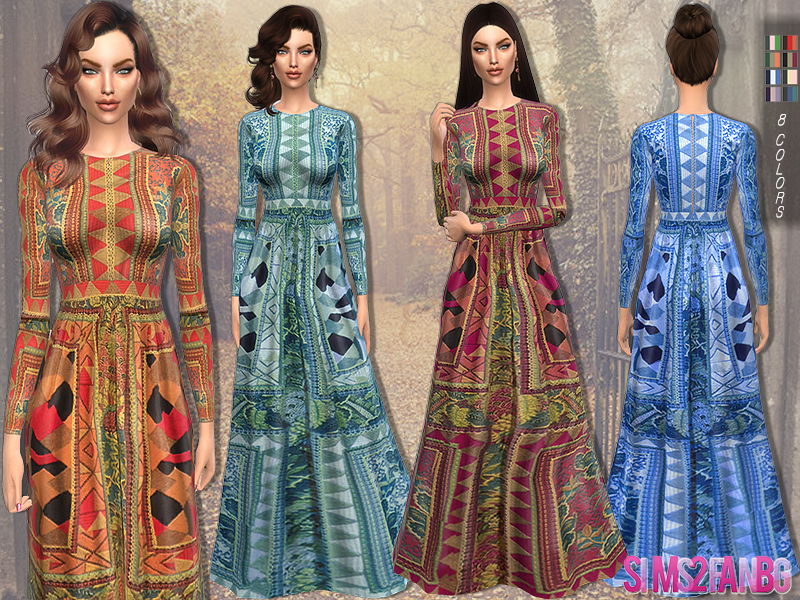 93 - Printed long dress BY sims2fanbg
