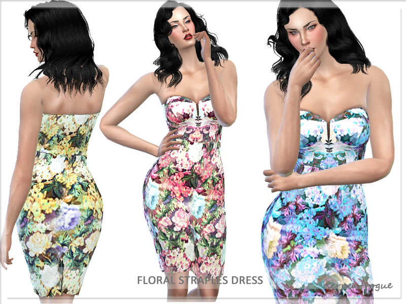 Strapless Floral Dress  BY Serpentrogue