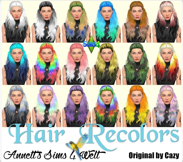 CAZYS HANNAH HAIR RECOLORS By ANNETTS SIMS 4 WELT