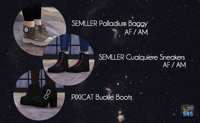 TS3 Semller and Pixicat Shoe Conversions for Males & Females by DreamTeamSims