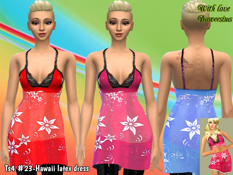 Ts4 #23-Hawaii latex dress by Daweesims