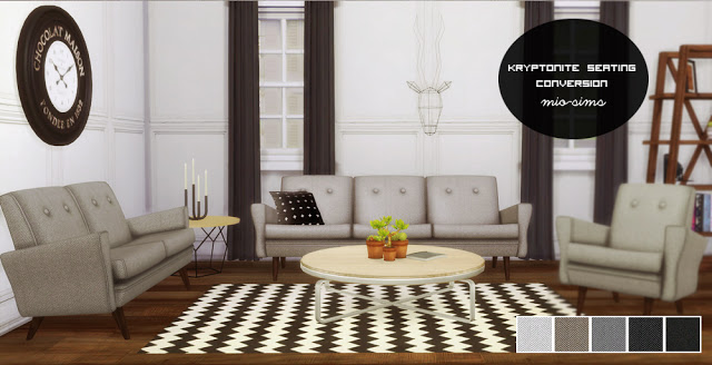 TS2 Holy Simoly Kryptonite Living Room Seating and Pilar Retro Clock Conversions by MioSims