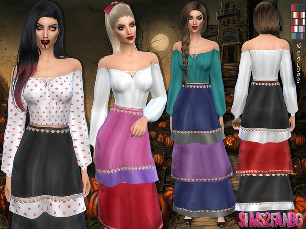 96 - Halloween Gypsy costume by sims2fanbg