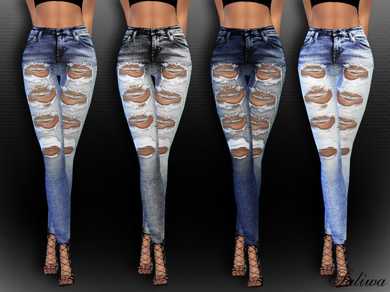 High Waisted Realistic Ripped Jeans  BY Saliwa