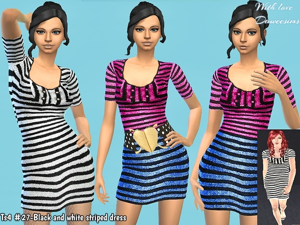Ts4 #27-Black and white striped dress
