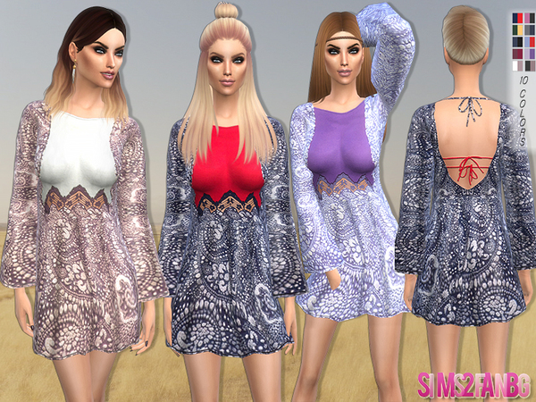 98 - Printed dress by sims2fanbg