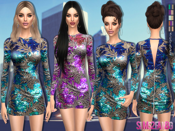 99 - Colorful glitter dress by sims2fanbg