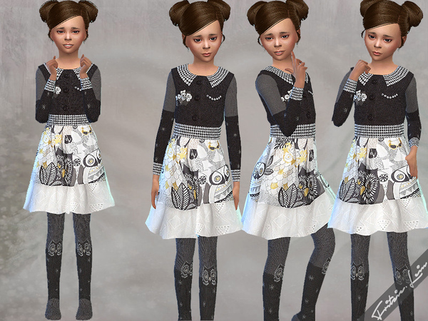 Owl Dress and Cotton Tights by Fritzie.Lein