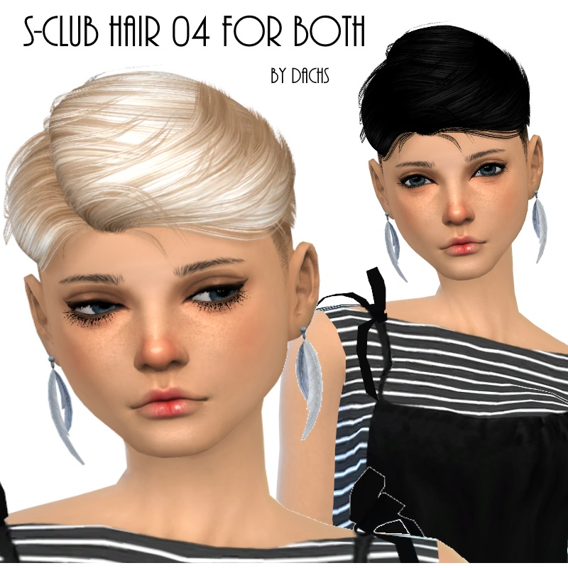 S-Club Hair 04 for Males in 20 Recolors + Converted for Females by Dachs