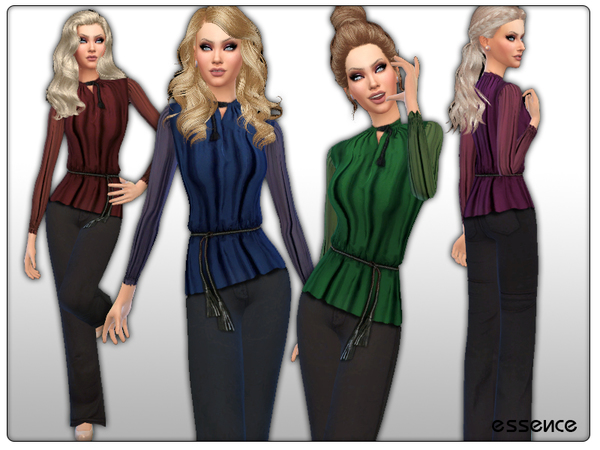 Chiffon Blouse with Flared Jeans by simseviyo