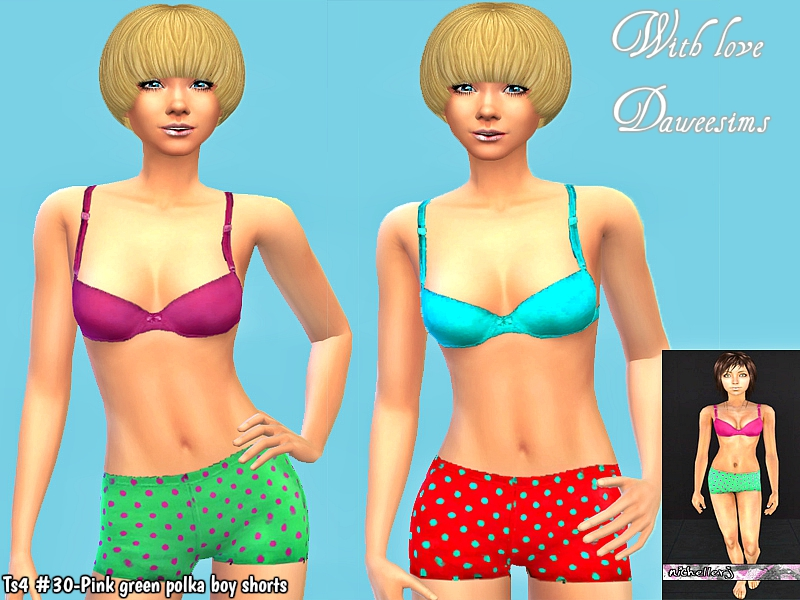 Ts4 #30-Pink green polka boy shorts by Daweesims