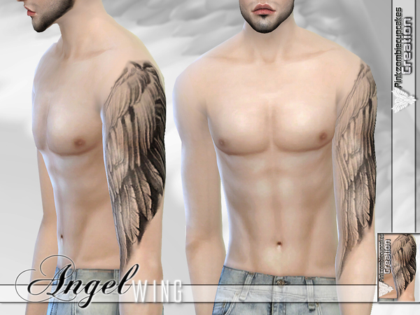 Angel Wing Half Sleeve Tattoo for male and female by Pinkzombiecupcakes