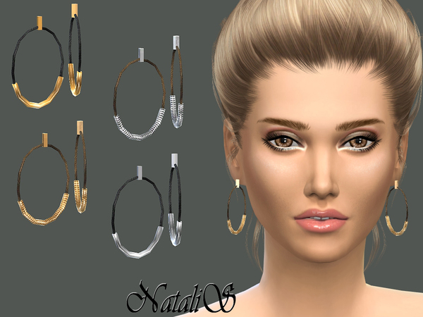 NataliS_ Rope and metal tubes earrings