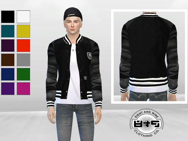 Leather Sleeves Baseball Jacket by McLayneSims
