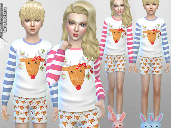 Reindeer Pyjama Winter Set by Pinkzombiecupcakes