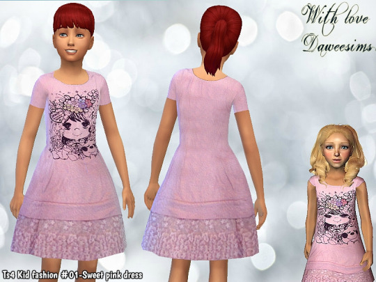 Ts4 Kid fashion #01-Sweet pink dress by Daweesims