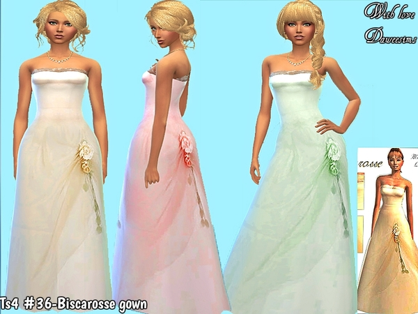 Ts4 #36-Biscarosse gown by Daweesims