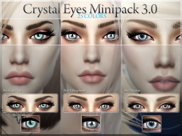 Crystal Eyes Minipack 3.0~ 3 Eyes, 25 Colors by Pralinesims