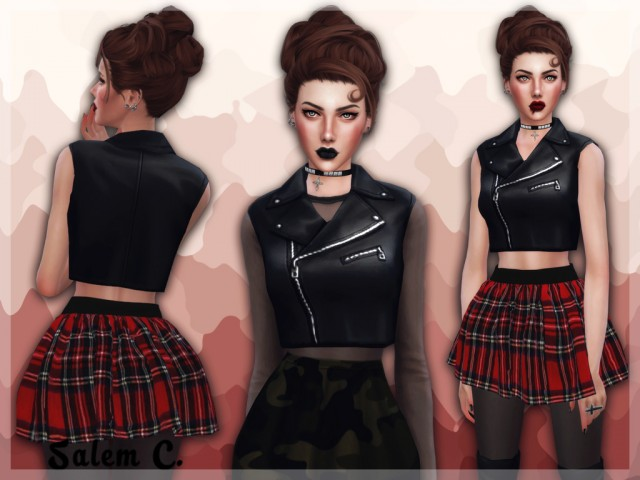 Cropped Leather Biker Vest Acc by salem2342