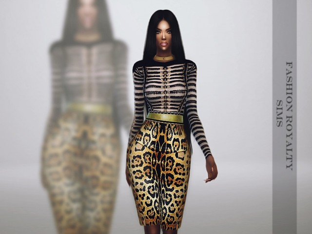 Balmain Fall 2014 - Leopard Dress by fashionroyaltysims