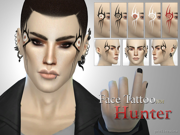 Face Tattoo HUNTER  N01 by Pralinesims