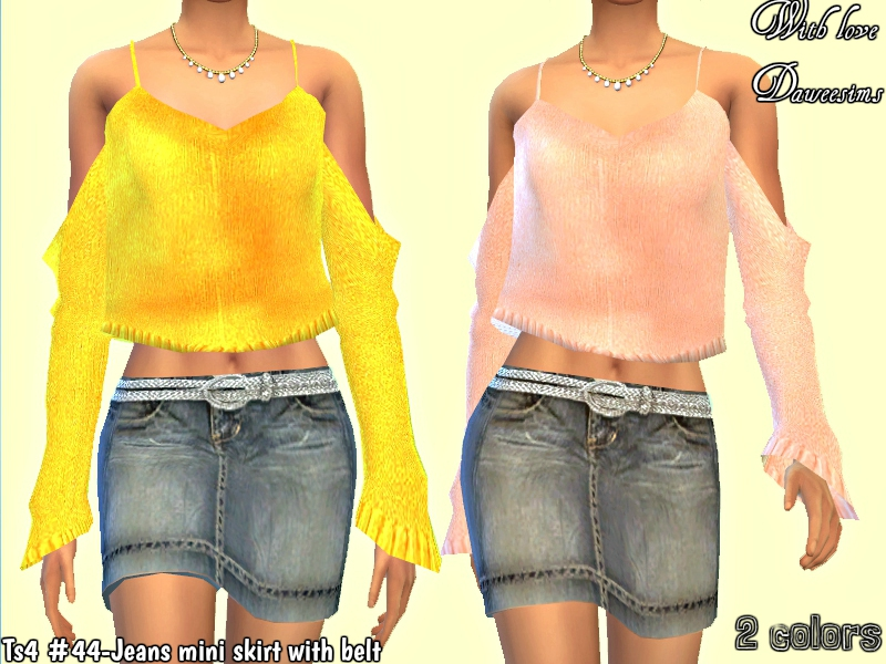 Ts4 #44-Jeans mini skirt with belt by Daweesims