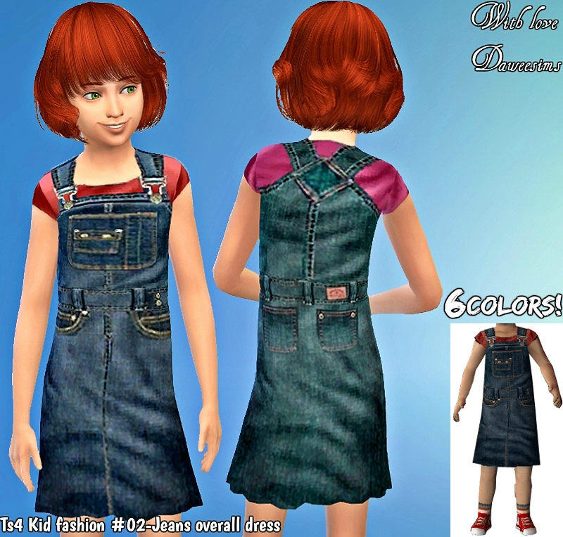 Ts4 Kid fashion #02-Jeans overall dress by Daweesims