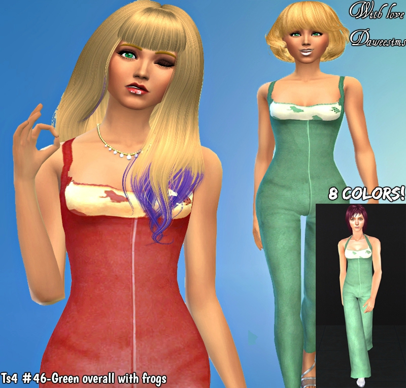 Ts4 #46-Green overall with frogs by Daweesims