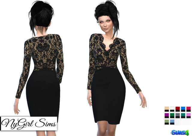 V Neck Lace Pencil Dress by NyGirl