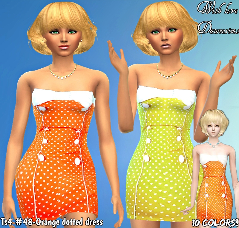 Ts4 #48-Orange dotted dress by Daweesims