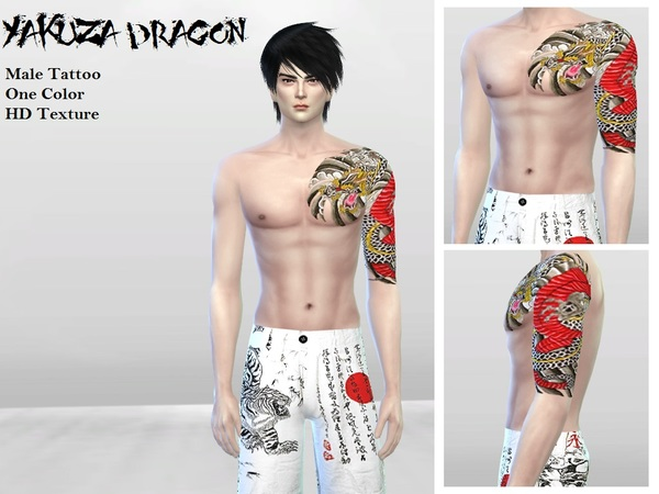 Tattoo003 (Yakuza Dragon) by McLayneSims